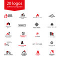 Vector flat architecture company logo collection. Royalty Free Stock Photo