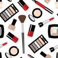 Vector flat beauty fashoin decorative cosmetics pattern seamless