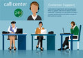 Vector flat call center concept with man and woman in headsets. Call centre operators working in line with their headsets in offic