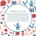 Vector flat cartoon future medicine background