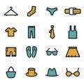 Vector flat clothes icons set