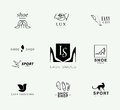 Vector flat collection of stylish modern shoe logo for women men and kids icons set store insignia Royalty Free Stock Photography