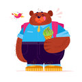 Vector flat cute big bear student character standing with ice cream cone on white background.