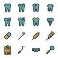Vector flat dental icons set