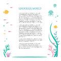 Vector flat design of elements the underwater world. Illustration of deep tropical flora and fauna. Place for text