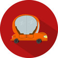 Vector Flat Design Icon of Car Autopilot Royalty Free Stock Photo
