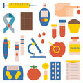 Vector flat diabetes icons
