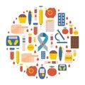 Vector flat diabetes icons