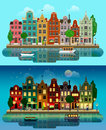 Vector flat European city: day, night, houses, canal, street Royalty Free Stock Photo