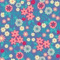 Vector Flat flowers Seamless pattern background Abstract floral elements seamless pattern. Vector sketch ready for