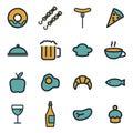 Vector flat food icons set