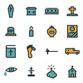 Vector flat funeral icons set