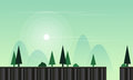 Vector flat game background with landscape