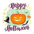 Vector flat halloween card, banner, poster, placard, party invitation, flayer design. Royalty Free Stock Photo