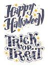 Vector flat halloween lettering quote design set with doodle elements isolated on white background.