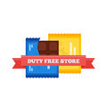 Vector flat icon of Duty Free chocolate bars at airport