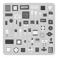 Vector of flat icons, Basic electronic circuit board set Royalty Free Stock Photo