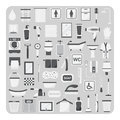 Vector of flat icons, Bathroom and toilet set