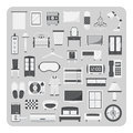 Vector of flat icons, Bedroom and furniture set