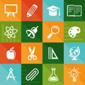 Vector flat icons education and science signs symbols Royalty Free Stock Image