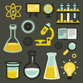 Vector flat icons science and education sign test tubes chemistry elements Royalty Free Stock Photography