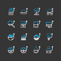 Vector flat icons set of business finance outline up concept. Royalty Free Stock Photo