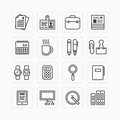 Vector flat icons set of business office tools outline concept. Royalty Free Stock Photo