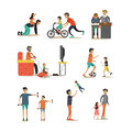 Vector flat icons set of fathers with children characters