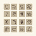 Vector flat icons set of foods outline concept Royalty Free Stock Photos