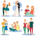 Vector flat icons set of happy loving couples