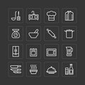 Vector flat icons set of kitchen cooking tools outline concept. Royalty Free Stock Photo