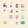 Vector flat icons set of medical health care design concept Stock Photos