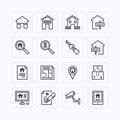Vector flat icons set of real estate property outline concept Stock Images