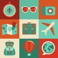 Vector flat icons travel and vacation concepts in style trendy banners signs summer journey Royalty Free Stock Photos