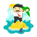 Vector flat illustration of businessman stranded in an island surrounded by shark, danger, business risk Royalty Free Stock Photo