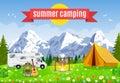 Vector flat illustration camping. Royalty Free Stock Photo