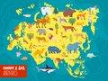 Vector flat illustration of Europe & Asia continent, animals & plants: polar bear, moose, squirrel, wolf, elephant, tiger, rhino, Royalty Free Stock Photo