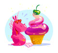 Vector flat illustration with funny cute little unicorn character and big tasty ice cream cone