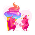 Vector flat illustration with funny cute little unicorn character couple and big tasty ice cream cone Royalty Free Stock Photo