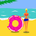 Vector flat illustration. Pretty young girl on a beach near a sea with swim ring donut in swimsuit. Royalty Free Stock Photo
