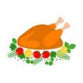 Vector flat illustration of roast chicken