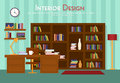 Vector flat illustration of room, lounge with bookshelf, table with lamp, cup, armchair on the floor with carpet rug Royalty Free Stock Photo