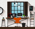 Vector flat illustration workplace in loft interior. Desk concept. Modern design of creative office workspace. Icon collection of