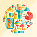 Vector flat infancy round illustration. Baby infancy products. T Royalty Free Stock Photo