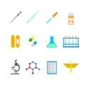 Vector flat lab web app icons: hospital chemical pharmaceutical