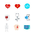 Vector flat medical web icons: hospital patient life death blood Royalty Free Stock Photo