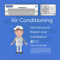 A vector flat picture specialists work with equipment. Installation or repair of air conditioner.