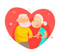 Vector flat portrait of old cute loving couple isolated on white background.