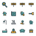 Vector flat real estate icons set