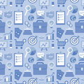 Vector flat seamless pattern with business icons in style and finance and signs in blue color for website background Stock Images